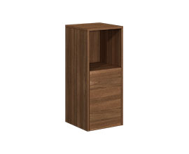 Single door cabinet with open shelf